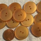 """12 Pearlized Burnt Orange Amber Sew-through Plastic Buttons 7/8"""" 23MM Lot # 3699"""