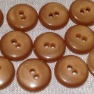 """12 Shiny Light Brown Sew-through Plastic Buttons Almost 5/8"""" 15.6mm # 7610"""