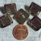 """5 Square Shiny Silver Tone Plastic Shank Buttons Hammered Look 16mm 5/8"""" 8985"""