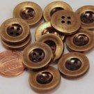 """12 Brass Tone ALL PLASTIC Buttons Light Weight 11/16"""" 18MM # 6102"""