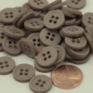"""24 Matte Taupe Plastic Sew-through Buttons Almost 9/16"""" 13.5MM # 6380"""