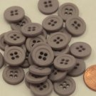 """Lot of 24 Matte Grey With Hint of Purple Plastic Buttons 9/16"""" 14mm # 6689"""