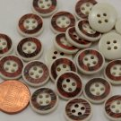 """Lot of 24 Off-White & Reddish Brown Plastic Buttons 9/16"""" 15mm # 6698"""