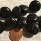 """Lot of 12 Shiny Domed Black Plastic Buttons 3/4"""" 19mm # 6993"""
