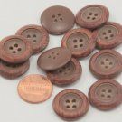 """Lot of 12 Brown Plastic Buttons 13/16"""" 20mm # 6637"""