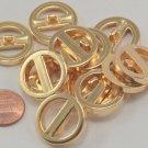 "12 Pierced Gold Tone Plastic Buttons 7/8"" 23mm # 7043"