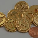 """8 Gold Tone ALL PLASTIC Nautical Anchor Buttons 7/8"""" 23MM # 6259"""