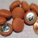 """10 Light Brown Knit Fabric Covered Domed Shank Buttons 7/16"""" 11.5mm # 7851"""