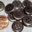 """12 Shiny Silver Tone Metal Charcoal Plastic Buttons Almost 5/8"""" 15.2mm # 7756"""