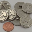 """Lot of 8 Silver Tone Plastic Anchor Nautical Buttons 7/8"""" 23mm # 6652"""