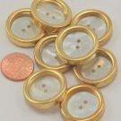 """8 Large Concave Gold Tone Plastic Buttons Faux MOP 15/16"""" 24.5mm # 7046"""