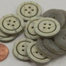 """Lot of 12 Matte Cream & Grey Marblized Plastic Buttons 7/8"""" 23mm # 6959"""