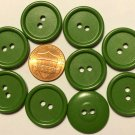 """9 Green Plastic Sew-through Buttons 13/16"""" 21mm 10191"""