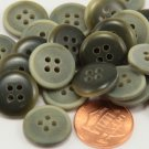 """24 Grey With Hint Of Green Plastic Buttons 9/16"""" 15MM # 6183"""