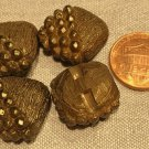 """Lot of 4 Retro Chunky Square Bronze Plastic Buttons 11/16"""" 18mm # 8103"""