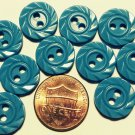 """12 Glossy Blue Carved Look Plastic Sew-through 2-hole Buttons 9/16"""" 14MM 6269"""