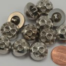"""12 Domed Silver Tone PLASTIC Buttons 5/8"""" 15.5MM Ready for Rhinestones # 6280"""