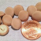 """12 Tan Fabric Covered Slightly Domed Plastic Shank Buttons 3/8"""" 10mm # 7854"""