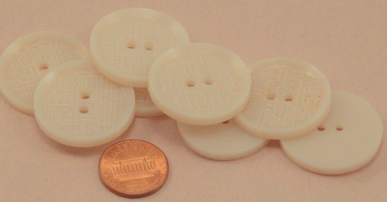 "Lot of 8 Large Bone Color Weave Pattern Plastic Buttons 1 1/8"" 29mm # 6654"