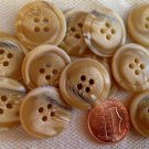"Lot of 12 Tan Cream Beige Black Swirl Plastic Buttons Almost 7/8"" 21.5mm # 7110"