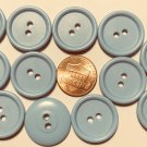 """12 Powder Dusty Muted Blue Plastic Sew-through 2-hole Buttons 13/16"""" 21mm 10188"""