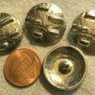 """4 Heavy Shiny Silver Tone Shank Metal Buttons Slightly Domed 7/8"""" 22mm 8764"""