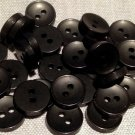 """24 Small Concave Black Plastic Sew-through Buttons 7/16"""" 11mm # 7759"""