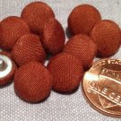 """12 Light Brown Fabric Covered Slightly Domed Metal Shank Buttons 7/16"""" 11mm 7858"""