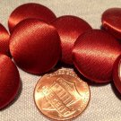 """8 Satin Fabric Front Metal Back Buttons Coppery Reddish Brown 19mm 3/4"""" 7940"""