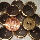 """12 Shiny Gold Tone Metal Dark Brown Plastic Buttons Almost 3/4"""" 18.6mm # 7754"""
