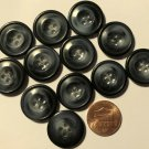 "12 Shiny Dark Navy Blue Swirl Plastic Sew-through Buttons 13/16"" 20mm # 7127"