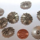 """8 Domed Antiqued Silver Tone Metal Buttons Almost 7/8"""" 22mm # 5791"""