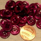 """24 Small Pearlized Reddish Purple Plastic Buttons Almost 1/2"""" 12mm 7608"""