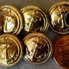 """8 Antiqued Brass Tone Plastic Shank Buttons Anchor Nautical 11/16"""" 17.4mm # 7596"""