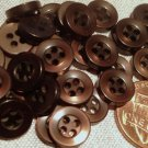 """24 Tiny Dark Brown Pearlized Plastic Sew-through Shirt Buttons 3/8"""" 9.5mm # 7735"""
