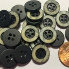 """24 Small Black & Off-white Plastic Sew-through Buttons Almost 9/16"""" 13.5mm 10241"""