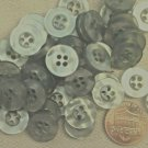 """24 Pearlized Gray Hint of Blue Plastic Buttons Almost 9/16"""" 13.5mm 7161"""