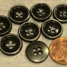 """Lot of 8 Dark Silver Tone Sew-through Metal Buttons Almost 5/8"""" 15.2mm # 8107"""