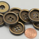 """8 Antiqued Brass Tone Concave Center Metal Buttons 15/16"""" 24MM # 6273"""