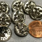 """8 Shiny Hollow Puffed Silver Tone Shank Buttons Leaf Leaves 5/8"""" 15.5mm # 8117"""