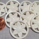 """8 White Flower Floral Plastic Shank Buttons 7/8"""" 23mm # 7676"""