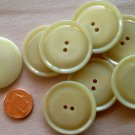 """8 Large Shiny Beige Plastic Coat Buttons Just Over 1 5/16"""" 34mm # 7192"""