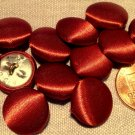 """12 Satin Fabric Front Metal Back Buttons Reddish Copper Brown 15mm 9/16"""" 7936"""