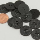 """Lot of 12 Black Plastic Buttons Anchor Nautical 3/4"""" 19mm # 6990"""
