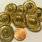 "8 Pierced Shiny Polished Gold Tone Plastic Swirl Shank Buttons 1"" 25mm 5875"