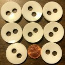 """8 Large Concave Slightly Off-white Plastic Sew-through Buttons 1 1/8"""" 28MM 6264"""