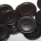 "12 Large Black Plastic Coat Buttons 2-hole Sew-through 1 1/8"" 29mm # 5718"