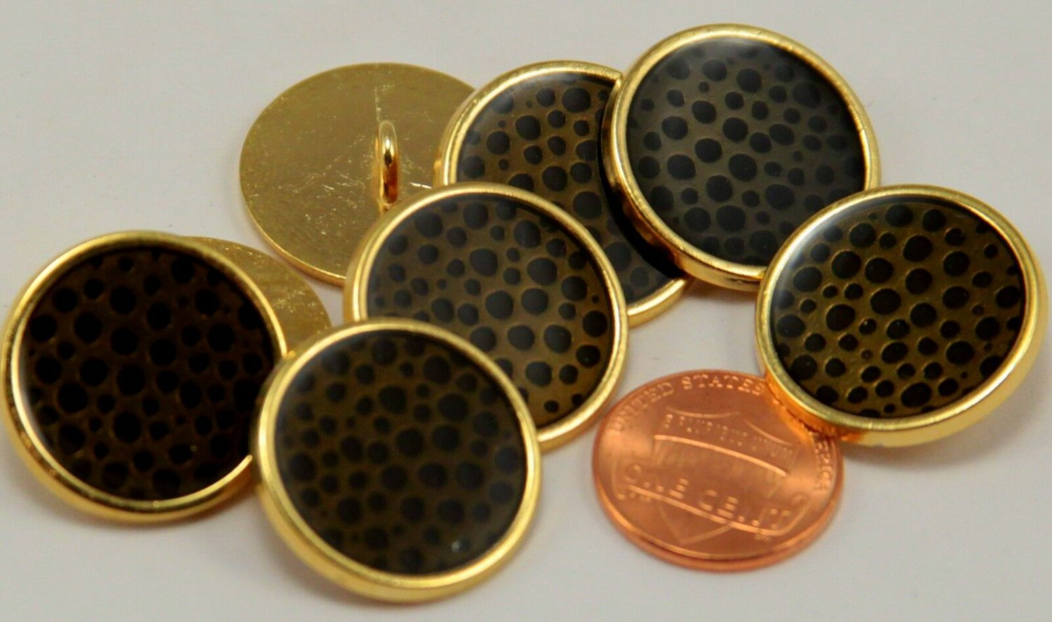"""8 Shiny Gold Tone Metal Buttons 7/8"""" 23MM # 6187"""