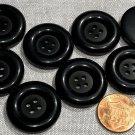 "8 Shiny Lip Matte Center Black Plastic Sew-through Coat Buttons 1"" 25.5mm # 8142"