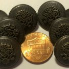 """8 Charcoal & Antiqued Brass Tone Metal Heraldic Shank Buttons 11/16"""" 18mm 6909"""